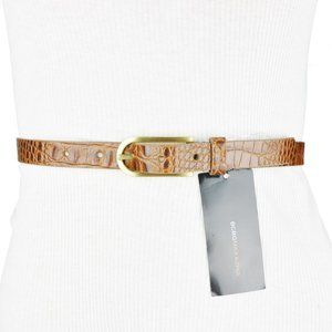 BCBG Brown Gold Alligator Genuine Leather Belt